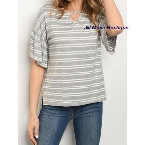 Short sleeve ruffle sleeve striped top S,M or L